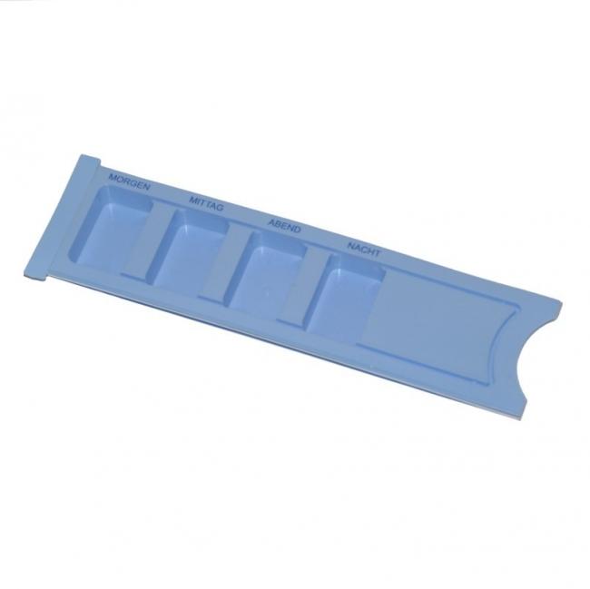 Medikamentendispenser blau 4-fach mit Schiebedeckel